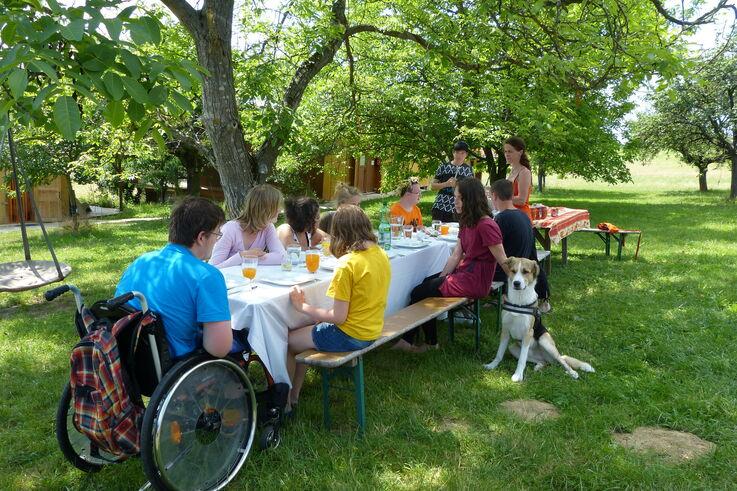 TeilnehmerInnen des Projekts P.I.L.O.T. beim gemeinsamen Essen im Grünen (Bild: P.I.L.O.T.)